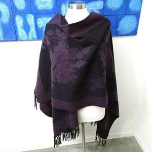 Pashmina Blanket Wrap - Purple and Black